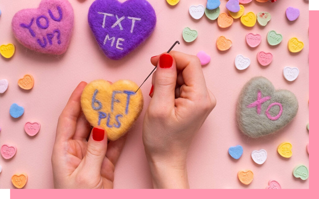 knitting hearts and arts and crafts for valentine's day